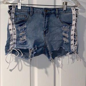 Pants - lace up blue jean shorts